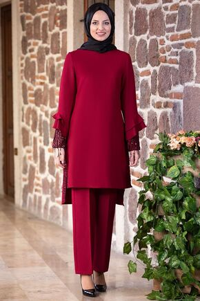 Fashion Showcase - Bordo Volan Kol Payet Detay Takım - FS15500