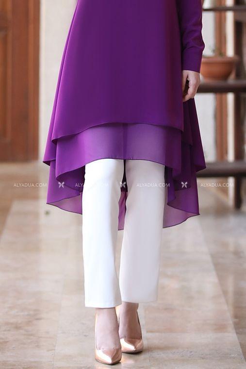 Alyadua - Dar Paça Pantolon - Beyaz