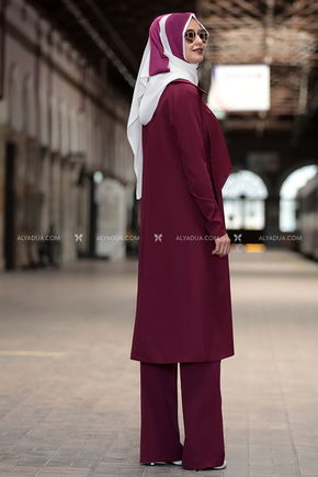 - Dem' s Moda - Ecem Three Pieces Suit Plum (1)
