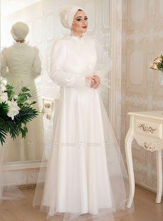Lefzen - Ekru Bella Abiye Elbise - LF14917
