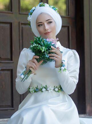 Ekru Çiçek Abiye - LF15376 - Thumbnail
