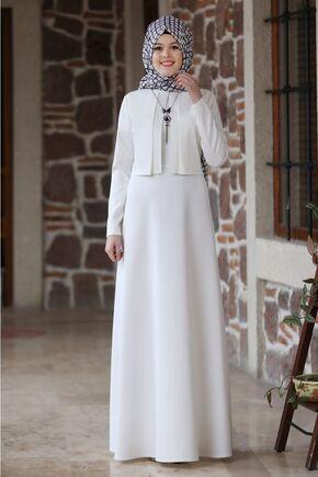 Nidya Moda - Ekru Eylül Elbise - NM15791