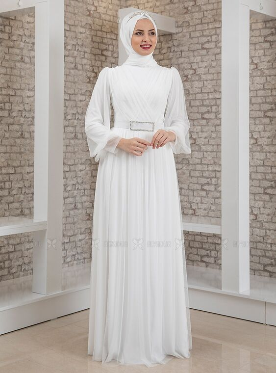 Fashion Showcase - Ekru Kemeri Taşlı Tül Detay Abiye - FS15199