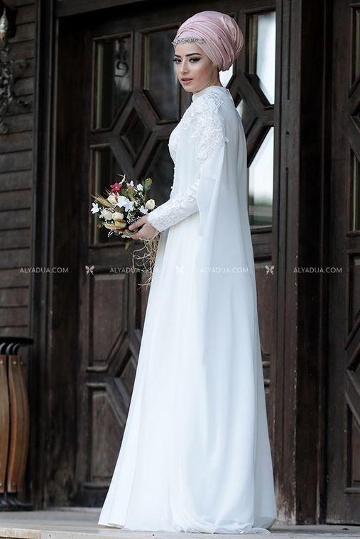 - Evening Dress with Cape Ecru - LZ11360 (1)