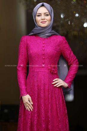 Fuşya Henna Abiye - AHU13989 - Thumbnail