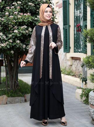 Emsale - Gold Payet Şifon Pelerinli Elbise - ES14878