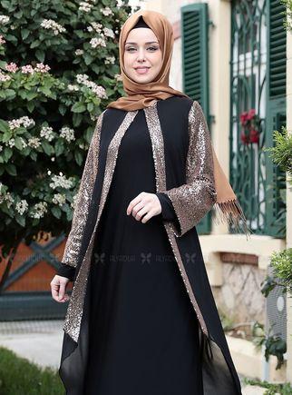 Gold Payet Şifon Pelerinli Elbise - ES14878 - Thumbnail