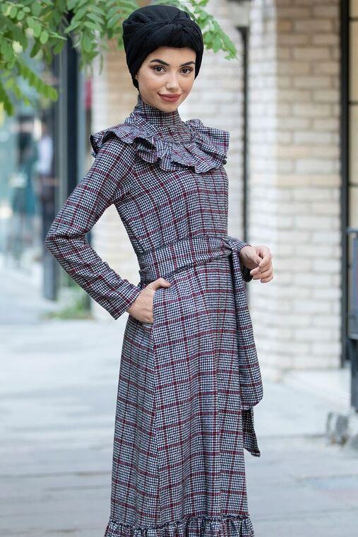 Gri Bordo Kareli Ekose Elbise - PN15472