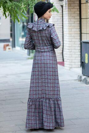 Gri Bordo Kareli Ekose Elbise - PN15472 - Thumbnail