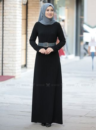 Gri Damla Elbise - RZ14235 - Thumbnail