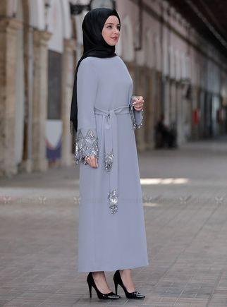 Gri Duru Elbise - ES14444 - Thumbnail