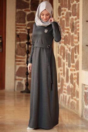 Gri Eylem Elbise - ES15629 - Thumbnail