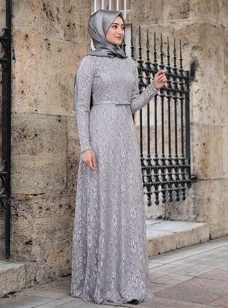 Rabeysa - Gri İpek Elbise - RS15019