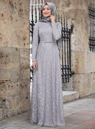Gri İpek Elbise - RS15019 - Thumbnail