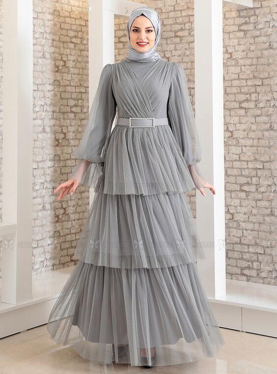 Fashion Showcase - Gri Katlı Kemerli Tül Abiye - FS15184