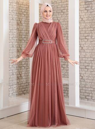 Fashion Showcase - Soğan Kabuğu Kemeri Taşlı Tül Detay Abiye - FS15200