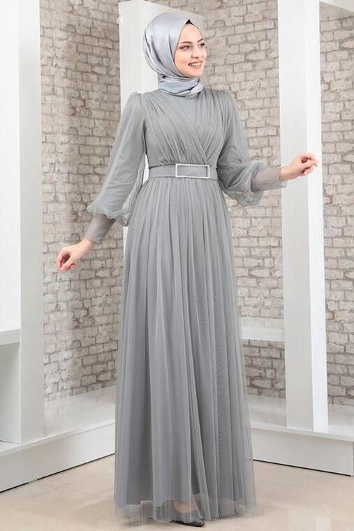 Fashion Showcase - Gri Kemeri Taşlı Tül Detay Abiye - FS16346