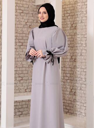 Gri Kolu Bağcıklı Tesettür Elbise - FS15213 - Thumbnail