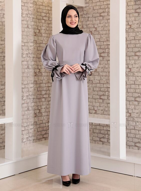 Gri Kolu Bağcıklı Tesettür Elbise - FS15213