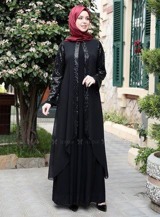 Emsale - Siyah Payet Şifon Pelerinli Elbise - ES14877