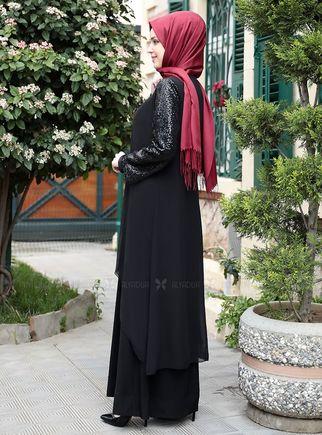 Siyah Payet Şifon Pelerinli Elbise - ES14877 - Thumbnail