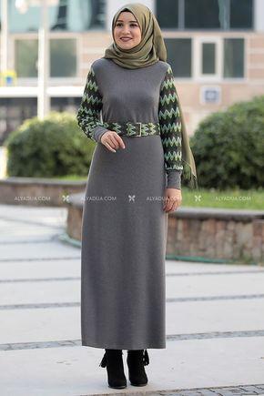 Gri Minel Elbise - RZ14190 - Thumbnail