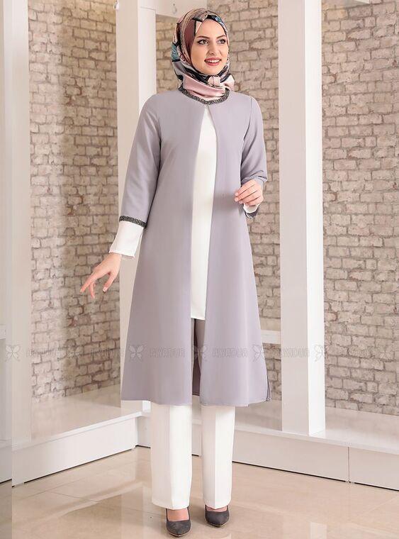 Fashion Showcase - Gri Taş Detay Üçlü Takım - FS15030