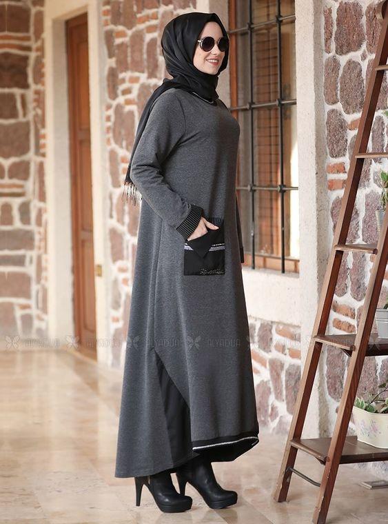 Gri Taşlı Eşofman Elbise - ADC14601