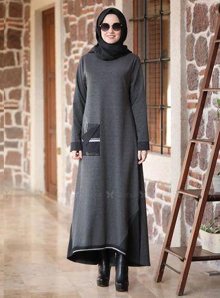 Alyadua - Gri Taşlı Eşofman Elbise - ADC14601
