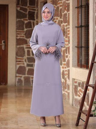 Emsale - Gri Tüy detaylı Elbise - ES14557