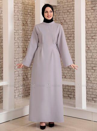 Fashion Showcase - Gri Yonca Abaya Elbise - FS15208