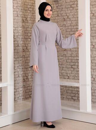 Gri Yonca Abaya Elbise - FS15208 - Thumbnail