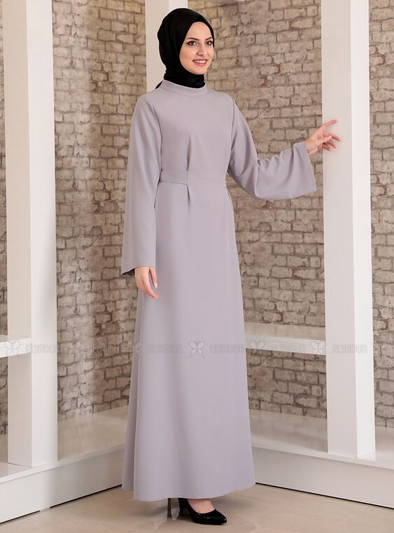 Gri Yonca Abaya Elbise - FS15208