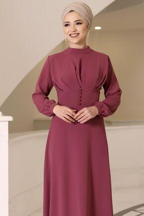 Gül Kurusu Ahsen Elbise - DL15802 - Thumbnail