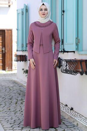 Ahunisa - Gül Kurusu Ayliz Elbise - AHU15951