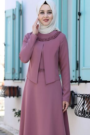Gül Kurusu Ayliz Elbise - AHU15951 - Thumbnail