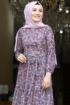 Gül Kurusu Çiçekli Elbise - AMH16280 - Thumbnail