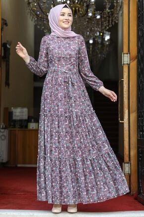 Amine Hüma - Gül Kurusu Çiçekli Elbise - AMH16280
