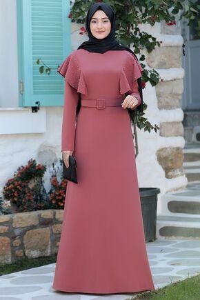 Gül Kurusu Damla Elbise - RS15783 - Thumbnail