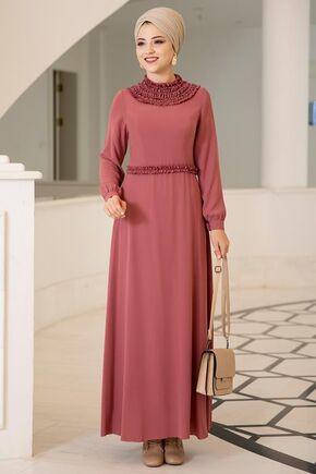 Gül Kurusu Eslem Elbise - DL15685 - Thumbnail