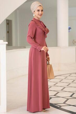 Gül Kurusu Irmak Elbise - DL15675 - Thumbnail