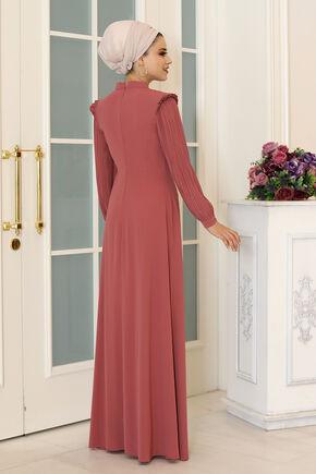 Gül Kurusu Merve Elbise - DL16497 - Thumbnail