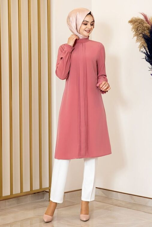 Fashion Showcase - Gül Kurusu Nervürlü Tunik - FS15871