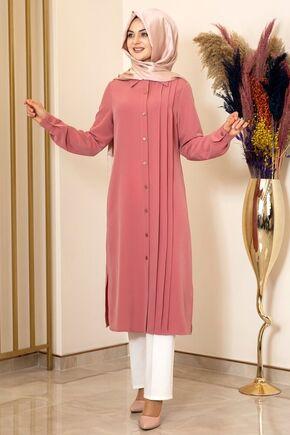 Fashion Showcase - Gül Kurusu Nervürlü Uzun Tunik - FS15852
