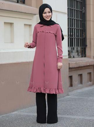 Dress Life - Gül Kurusu Sare Uzun Kap Tunik - DL14282