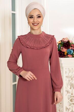 Gül Kurusu Selin Elbise - DL16167 - Thumbnail