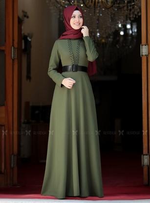Semra Aydın - Haki Ada İncili Elbise - SA142562