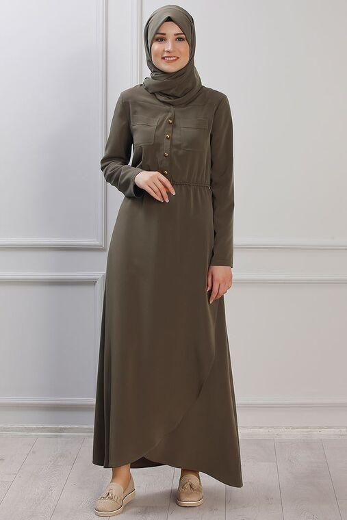 Rana Zenn - Haki Ayça Elbise - RZ153382