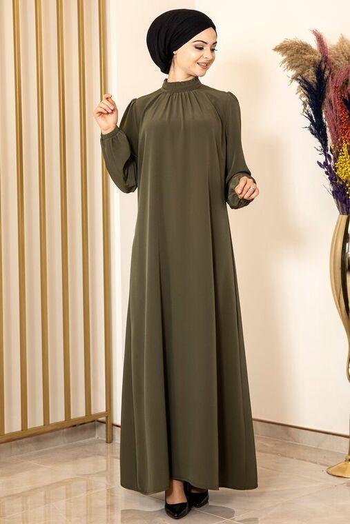 Haki Büzgülü Elbise - FS15874