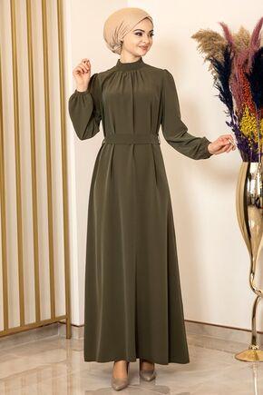 Haki Büzgülü Elbise - FS15874 - Thumbnail